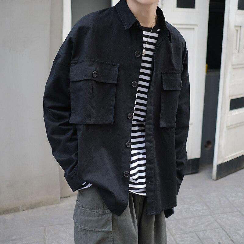 2019 printemps et automne nouveau Hong Style japonais outillage mode décontracté lâche veste mâle étudiant chemise noir/kaki S-XL