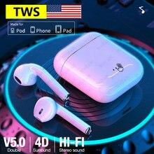 Fone de ouvido original Apple-AirPods i7s TWS Bluetooth 5.0 Fones de ouvido sem fio Air Pods Fone de ouvido estéreo Sport handsfree headset para iPhone Android