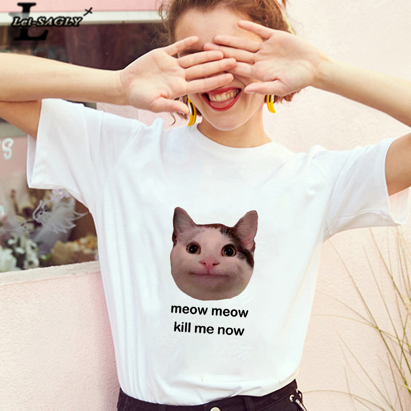 Lei SAGLY meow meow kill me now Cute Cat Women T Shirt Harajuku Female Short Sleeve kawaii Casaul Plus Size Tee Tops