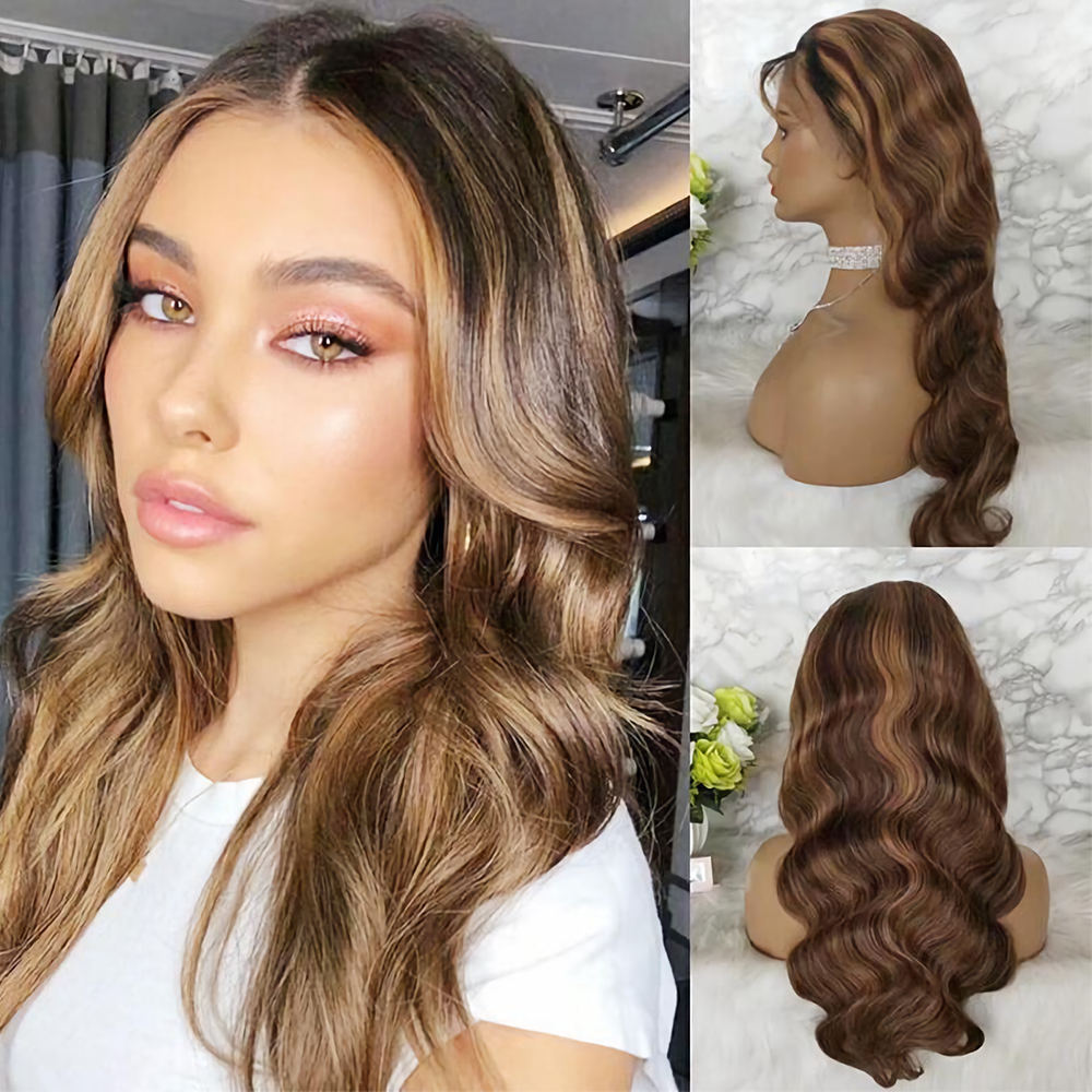 180 Density Highlight Honey Blonde 13x6 Lace Front Human Hair Wig Body Wave Ombre Colored Pre Plucked Brazilian Hair Na Beauty