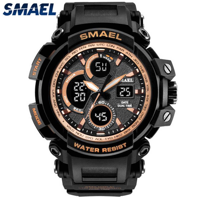 Smael relogio masculino de Luxo Da Marca Quartz Relógios Homens Moda Casual Assista Men Digital LED Esporte Militar Relógios Homens Relógio