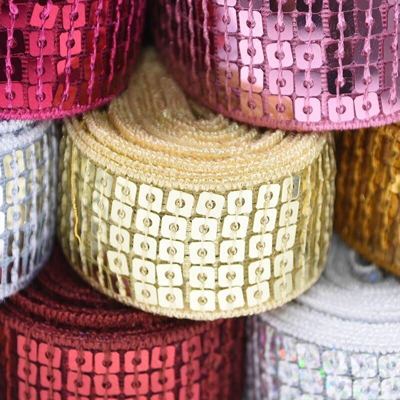 10Yx25mm parlak pullar dokuma şerit konfeksiyon Trim dantel dikiş kumaş sahne giyim kostüm dekor Scrapbooking DIY tedarikçisi