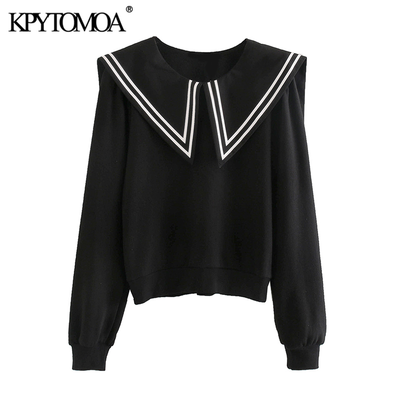 KPYTOMOA Women 2020 Fashion Patchwork Sweatshirt Vintage O Neck Long Sleeve Female Pullovers Chic Tops