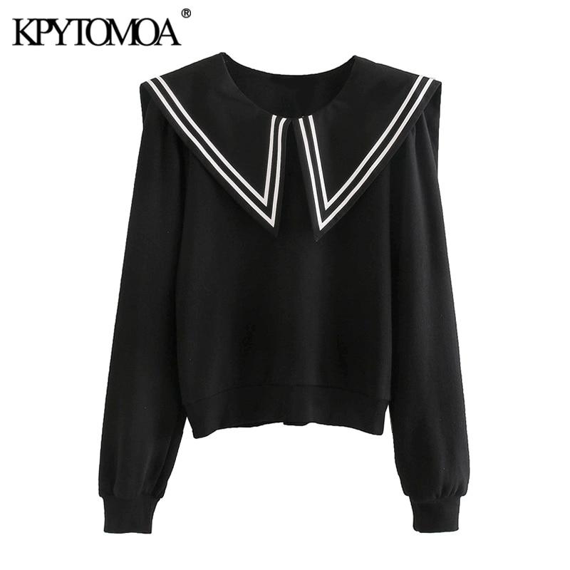 KPYTOMOA Women 2020 Fashion Patchwork Sweatshirt Vintage O Neck Long Sleeve Female Pullovers Chic Tops
