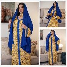 AB040 Luxury Dress Abaya Soiree Yellow Muslim Woman Hijab Set Arabic Clothing World Apparel Store Blue Turkish Hijab Scarves