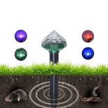 2pcs Solar Mole Rodent Repeller Ultrasonic Animal Rat Repellent for Outdoor Orchard and Garden