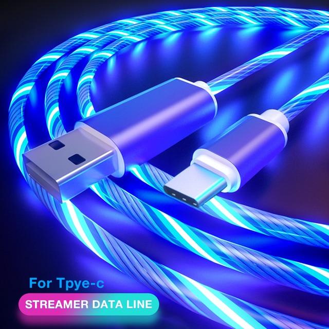 كابل شحن ذكي USB/Type C ، 1 متر ، تدفق مرئي ، ضوء LED ، خط شحن مسطح