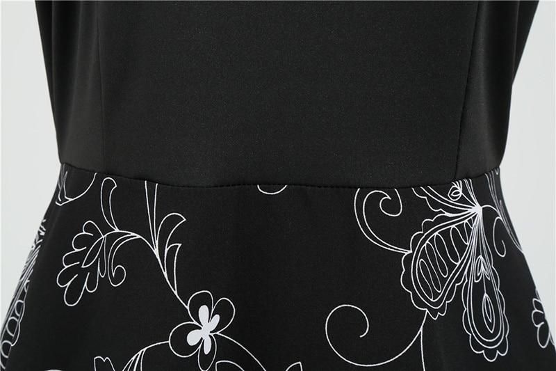 Women Long Sleeve Winter Vintage Dresses Sexy Black Music Note Print V-neck Rockabilly Pin up Party Dress Vestidos Plus size 658