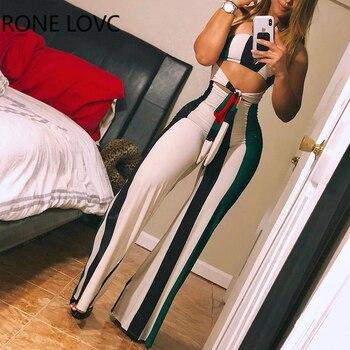 Women Skinny Striped Colorblock Lace up Cutout Bandeau Jumpsuit Summer Sexy Romper Jumpsuit 1