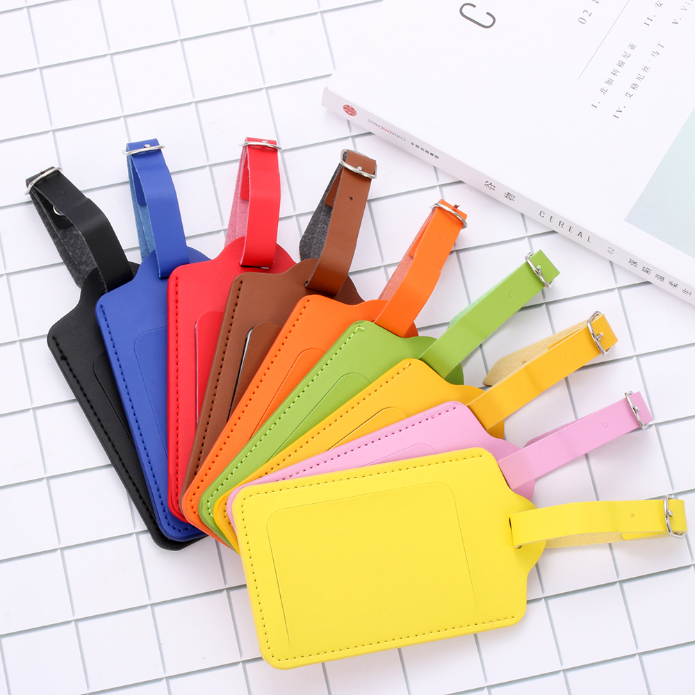 High-Quality PU Leather Suitcase Luggage Tag Label Bag Pendant Handbag Portable Travel Accessories Name ID Address Tags