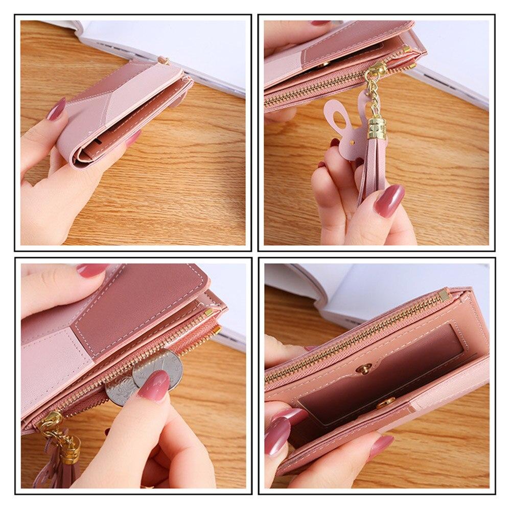 Купить с кэшбэком Geometric Women Cute Pink Wallets Pocket Purse Card Holder Patchwork Wallet Lady Female Fashion Short Coin Burse Money Bag