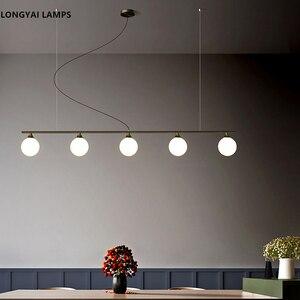 Image 4 - 북유럽 식당 모든 구리 LED 샹들리에 현대 유리 공 거실 매달려 램프 침실 조명기구 연구 조명