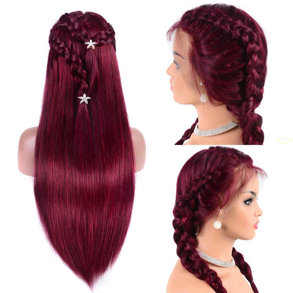 Brazylijski Wig13x4 prosto bordowy koronkowa peruka na przód 99J koronki przodu peruki z ludzkich włosów dla czarnych kobiet pre-oskubane nie Remy Jazz Star