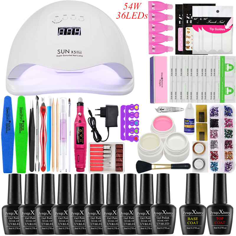 Nail Kit 54w UV LED Lamp Dryer With 10pcs Nail Gel Polish Kit Soak Off Manicure Tool Set Gel Nail Polish Kit Electlic Nail Drill