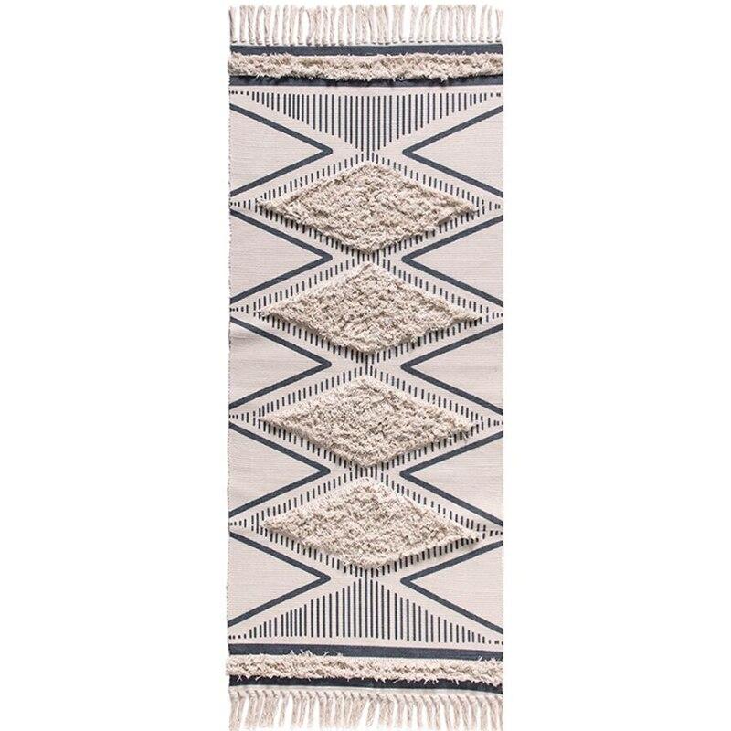 70CM X 160CM Cotton Hand-Woven Printed Area Carpet Tufted Fringe,Non-Slip Carpet