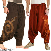 Vintage Men Pants Harem Elastic Casual Baggy Yoga Harem Pants Hip-hop Men Gypsy Cotton Linen Wide-legged Loose Pants Drawstring cheap Flat Polyester spandex PATTERN Lightweight Broadcloth Full Length