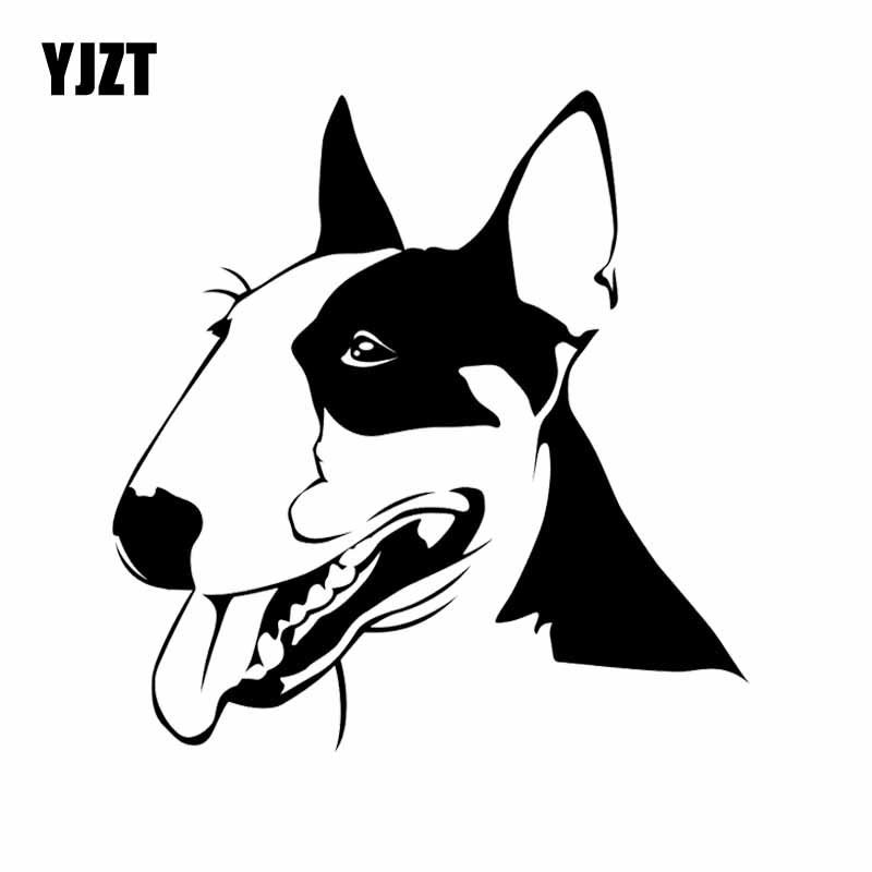 YJZT 15.8X16.5CM Cute Bull Terrier Dog Pets Animals Vinyl Decal Car Sticker Black/Silver C24-1121