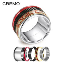 Cremo Black Gear Rings Sets Women Stainless Steel Ring Silver Band Spinner Wedding Festival Gifts For Girls Elegent