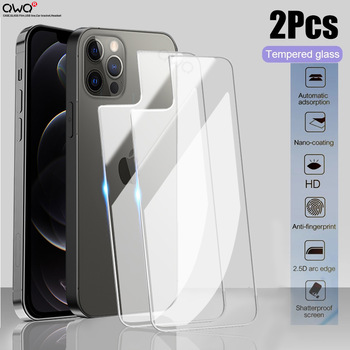 2Pcs Back Tempered Glass For Apple iPhone 11 12 Pro Max mimi Screen Protector iPhone 7 8 6 6S 8 Plus X XR XS MAX SE 2 5 5s Film 1