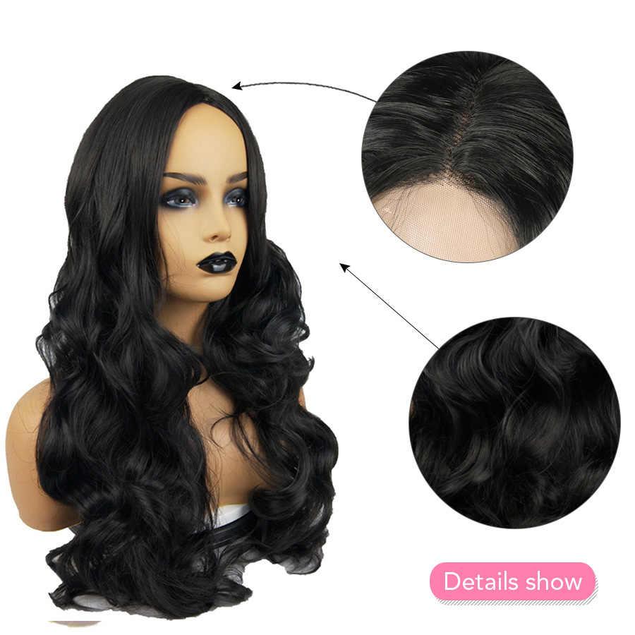Belleza en línea de Color negro sin pegamento peluca larga ondulada con parte media profunda pelucas de pelo sintético para mujeres negras 26 pulgadas