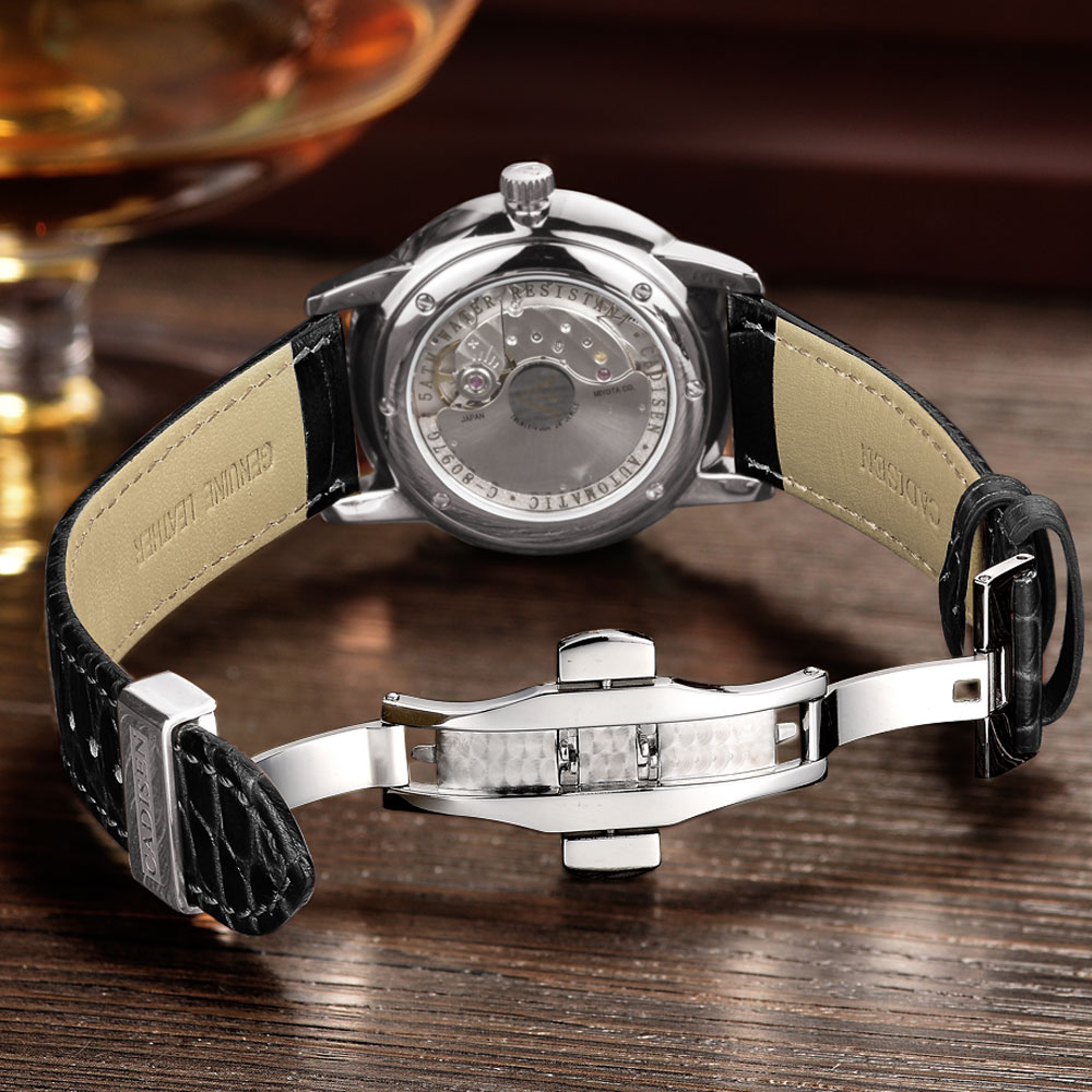 Image 4 - CADISEN Men Watches Automatic Mechanical Wrist Watch MIYOTA 9015 Top Brand Luxury Real Diamond Watch Curved Sapphire Glass Clock-in Mechanical Watches from Watches