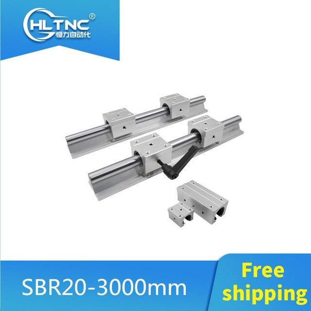 Kostenloser versand 2 Set SBR20 3000mm(1500 + 1500) 20 MM VOLLSTÄNDIG UNTERSTÜTZT LINEARE SCHIENE WELLE ROD mit 4 SBR20UU für CNC
