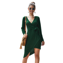 2019 fall winter V-neck long sleeve knitted sexy women dress solid color irregular temperament light ripe simple ladies