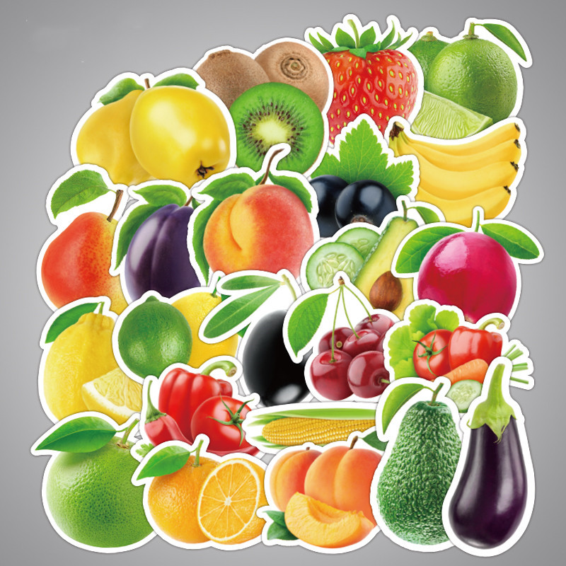 25Pcs/lot Exquisite Cartoon Fresh Fruits And Vegetables Stickers For Kitchen Bakery Cup Dish Refrigerator Kids Education Toys