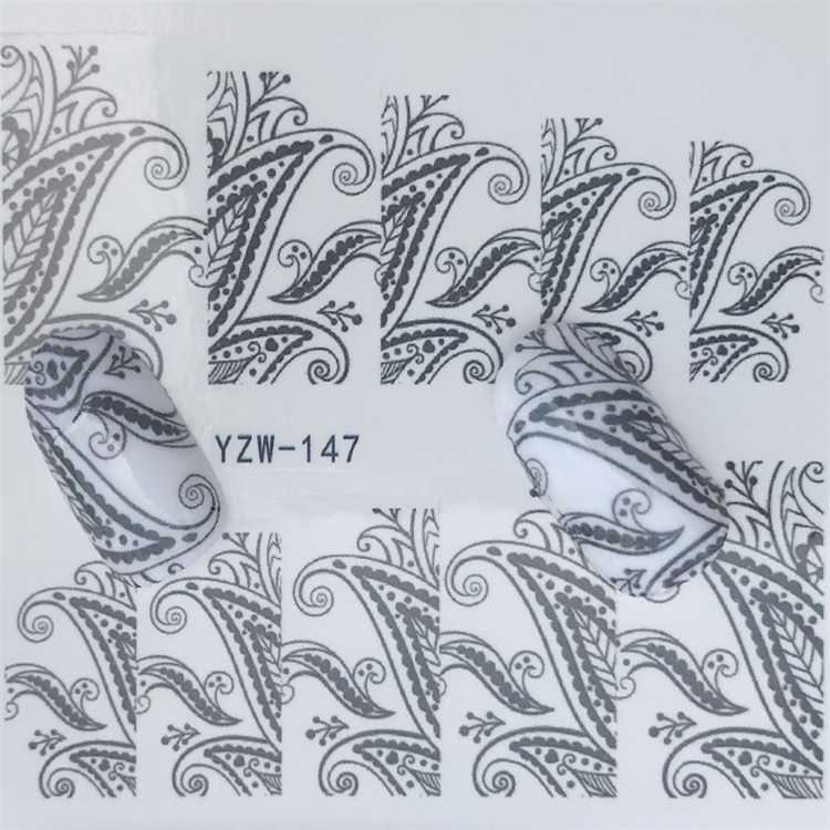 Cross Border For Nail Sticker YZW147 Black And White With Pattern Water Transfer Nail Sticker Environmentally Friendly Breathabl