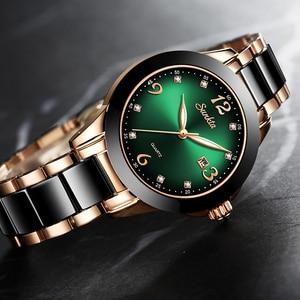 Image 5 - SUNKTA 2020 Watch Women Fashion Luminous Hands Date Lndicator Stainless Steel Strap Quartz Wrist Watches Lady Green Water Ghost