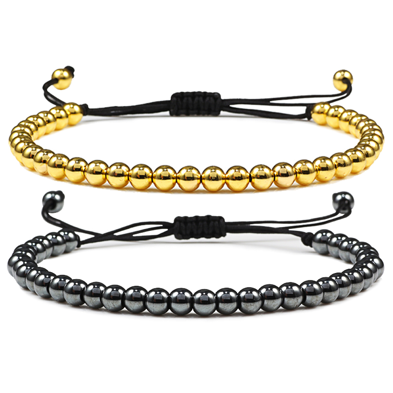 Fashion Men Bracelet Hematite Gold Silver Color Beads Charm Handmade Weave Adjustable Bracelets Bangle Accessories Women Jewelry