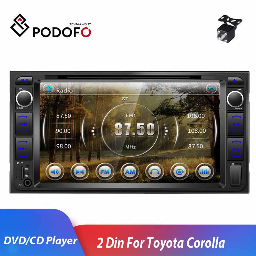 "Podofo 2 Din Dvd-speler 7 ""Multimedia Speler 2din autoradio Autoradio Bluetooth USB MP5 DVD FM audio stereo voor Toyota Corolla"