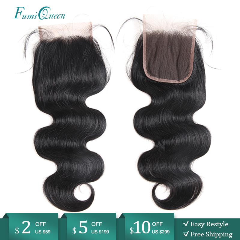 Ali FumiQueen Hair Closure Brazilian Body Wave Human Hair Closure 10