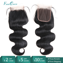 "Ali FumiQueen Hair Closure Brazilian Body Wave Human Hair Closure 10"" 20"" Natural Color Remy Hair Lace Closure With Baby Hair"