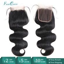 """Fechamento brasileiro do cabelo humano da onda do corpo do fechamento do cabelo da fumiqueen de ali 10 """" 20"""" fechamento natural do laço do cabelo de remy da cor com cabelo do bebê"""