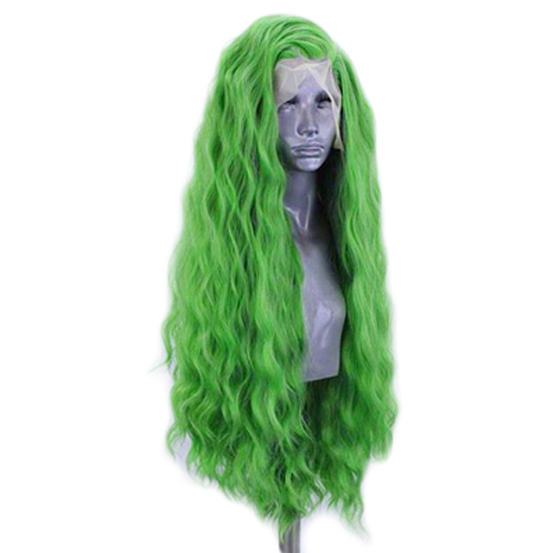 Image 4 - Charisma Deep Wave Wig Side Part Synthetic Lace Front Wig Heat Resistant Fiber Hair Green Wigs for Women Natural Hairline-in Synthetic None-Lace  Wigs from Hair Extensions & Wigs