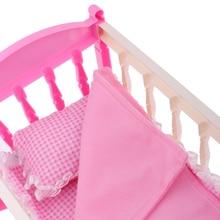 Rosa 29*20cm Wiege Bett mit Kissen Quilt Kit für 9-11 zoll Reborn Baby Mädchen Puppen zubehör