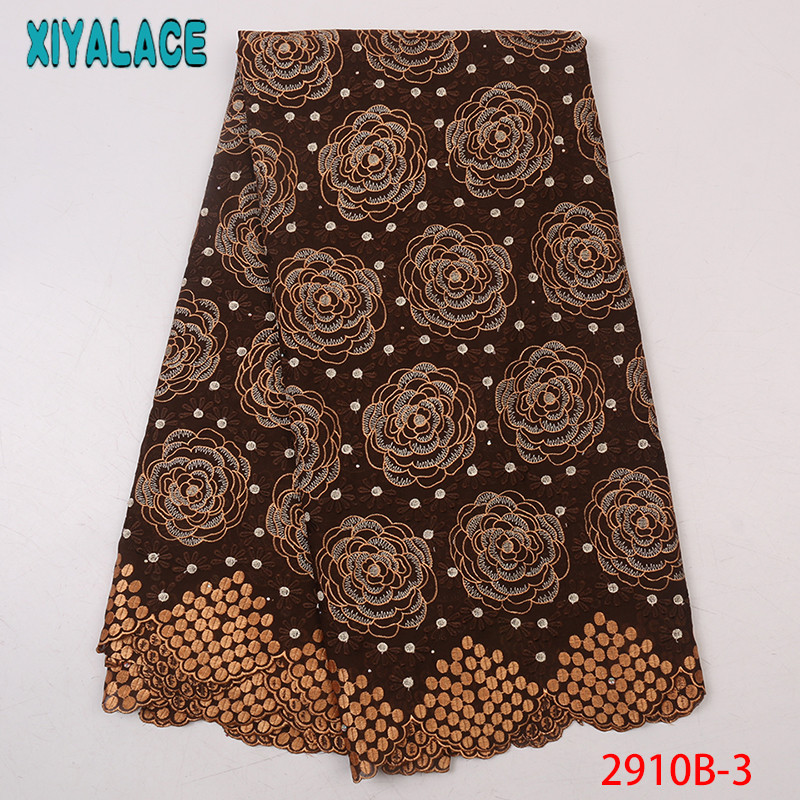 Best Selling African Cotton Lace Fabric 2019 Nigerian Lace Fabrics High Quality Swiss Voile Lace With Diamond KS2910B-3