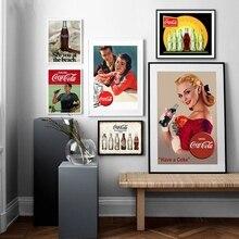 Anuncio de Cola de carteles Vintage e impresiones Pub Bar Retro pared decorativa Cola Pin-Up chica CUADRO DE ARTE lienzo pintura cocina Decoración