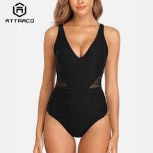 Attraco Swimsuit Swimwear Women Monokini One-piece Backless V-Neck Sexy Bathing Suit Deep-V Plunge Beachwear printed backless plunge neck swimsuit