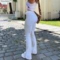 Женские расклешенные джинсы с высокой талией, бежевые и белые брюки для женщин, джинсовые расклешенные брюки Y2k, джинсовые брюки, женская од...