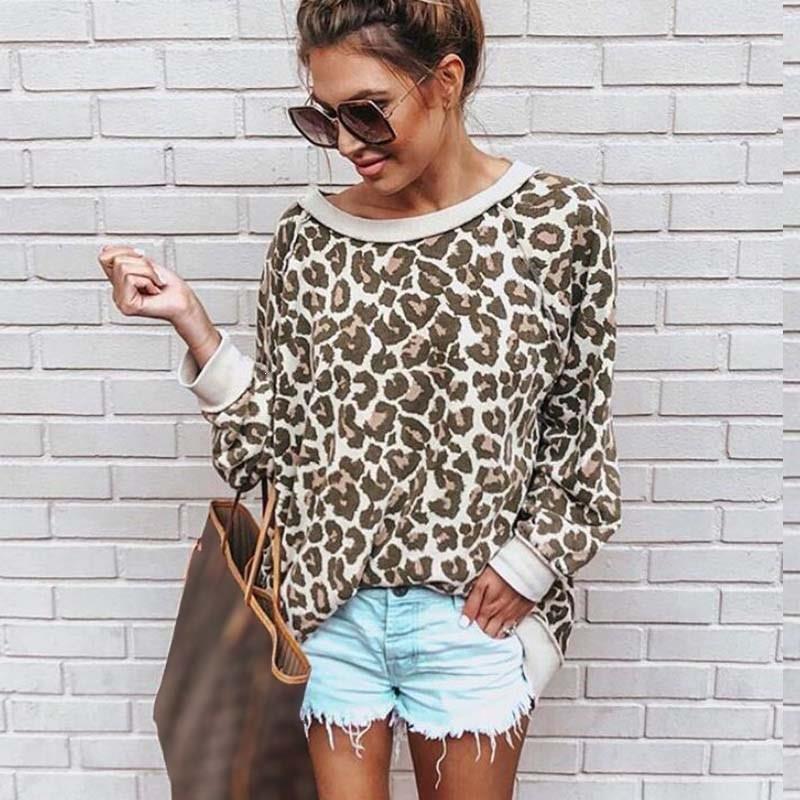 Bonita camiseta de leopardo con cuello redondo y estampado de cuello redondo para mujer Jersey Casual camiseta suelta - 3