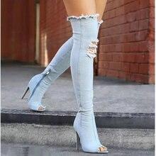 Модные осенние женские сапоги до бедра на высоком каблуке Женская обувь популярные Сапоги выше колена ковбойские сапоги с открытым носком джинсовая обувь TT-07