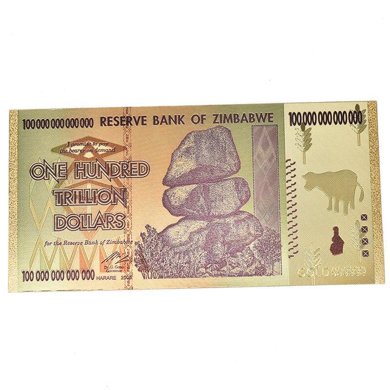 Abd altın kaplama banknot zimbabve altın varak banknot kağıt para olmayan para koleksiyonu hediyeler el sanatları