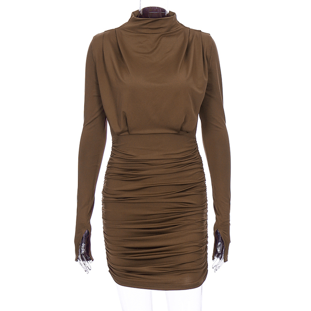 Long sleeve ruched pure sexy mini dress autumn winter women streetwear party outfits clubwear 6