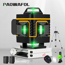 16/12 Lines 4D/3D Green Laser Level Self-Leveling Wireless Remote 360 Horizontal & Vertical Cross Lines With 1/2Batteries
