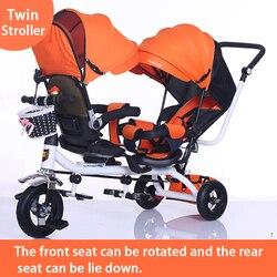 Cochecito de bebé gemelo asiento doble triciclo para niños bicicleta asiento giratorio tres ruedas cochecito liviano portátil