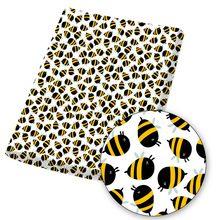 Tissu en coton Polyester 45x145cm/pièce, étoffe imprimée d'abeille de dessin animé pour bricolage, Patchwork, édredon, couture