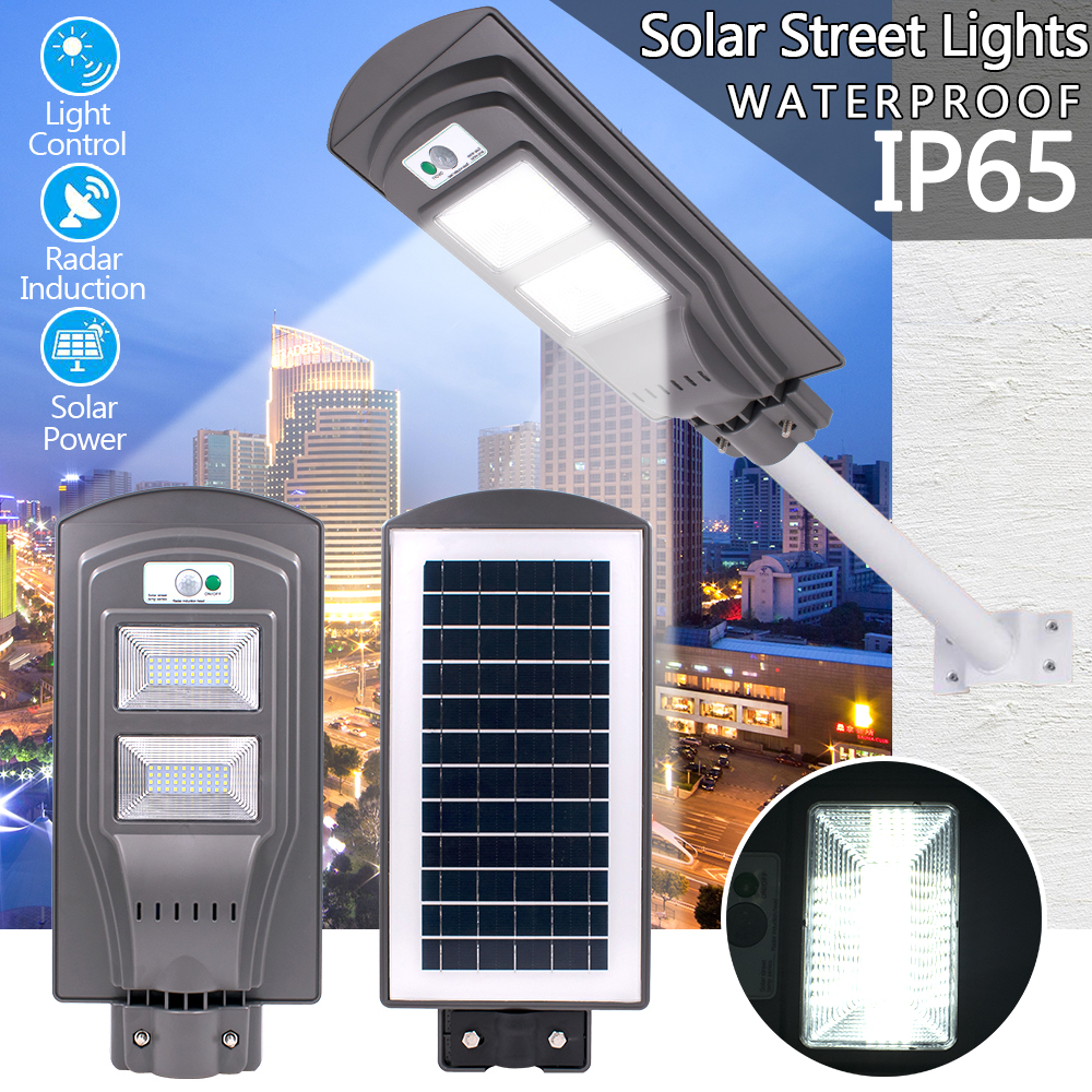 40W LED Solar Street Light 80 LED Solar Wall Light Radar Motion Activated Sensor Wall Street Light For Outdoor Lighting Grey