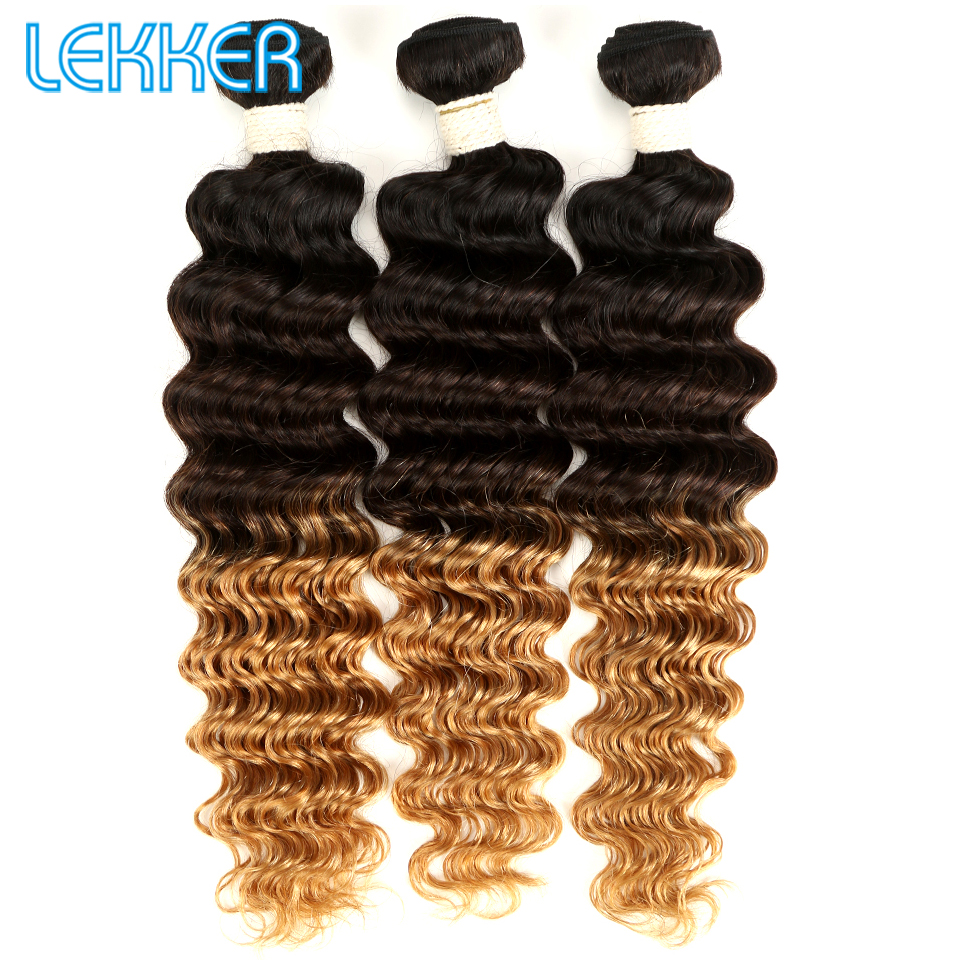 Lekker Deep Wave Bundles 1B 4 27 Ombre Human Hair Peruvian Hair Pre-Colored Bundles